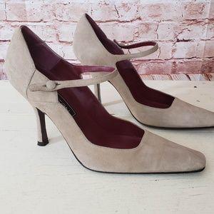 Halston Vintage Mary Jane Pumps Tan Suede Size 7M
